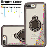 Electroplating Quicksand Glitter Case with Smart Loop Ring Holder for iPhone 8 Plus / 7 Plus - Black Silver