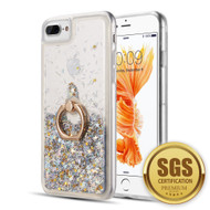 Quicksand Glitter Case with Smart Loop Ring Holder for iPhone 8 Plus / 7 Plus / 6S Plus / 6 Plus - Silver
