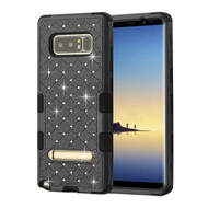 Military Grade Certified TUFF Diamond Hybrid Armor Case with Stand for Samsung Galaxy Note 8 - Black