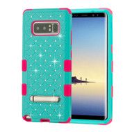 Military Grade Certified TUFF Diamond Hybrid Armor Case with Stand for Samsung Galaxy Note 8 - Teal Green Electric Pink