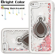 *Sale* Electroplating Quicksand Glitter Case with Smart Loop Ring Holder for iPhone SE / 5S / 5 - Silver Rose Gold