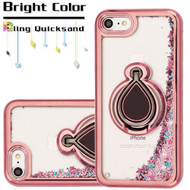 *Sale* Electroplating Quicksand Glitter Case with Smart Loop Ring Holder for iPhone 8 / 7 - Rose Gold