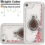 *Sale* Electroplating Quicksand Glitter Case with Smart Loop Ring Holder for iPhone 8 / 7 - Silver Rose Gold