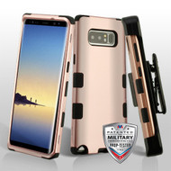 Military Grade Certified TUFF Hybrid Armor Case with Holster for Samsung Galaxy Note 8 - Rose Gold