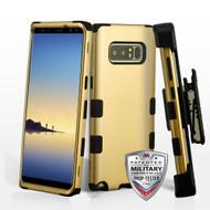 Military Grade Certified TUFF Hybrid Armor Case with Holster for Samsung Galaxy Note 8 - Gold