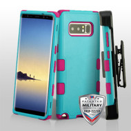 Military Grade Certified TUFF Hybrid Armor Case with Holster for Samsung Galaxy Note 8 - Teal Green Electric Pink