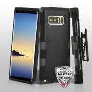 Military Grade Certified TUFF Hybrid Armor Case with Holster for Samsung Galaxy Note 8 - Black Grey