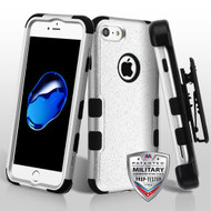 Military Grade Certified TUFF Hybrid Armor Case with Holster for iPhone 8 / 7 - Silver