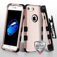 Military Grade Certified TUFF Hybrid Armor Case with Holster for iPhone 8 / 7 - Rose Gold