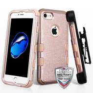 Military Grade Certified TUFF Hybrid Armor Case with Holster for iPhone 8 / 7 - Rose Gold 404