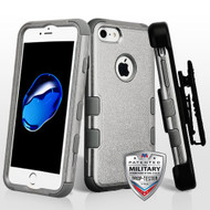 Military Grade Certified TUFF Hybrid Armor Case with Holster for iPhone 8 / 7 - Grey