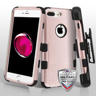 Military Grade Certified TUFF Hybrid Armor Case with Holster for iPhone 8 Plus / 7 Plus - Rose Gold