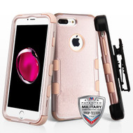 Military Grade Certified TUFF Hybrid Armor Case with Holster for iPhone 8 Plus / 7 Plus - Rose Gold 404