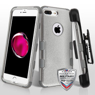 Military Grade Certified TUFF Hybrid Armor Case with Holster for iPhone 8 Plus / 7 Plus - Grey