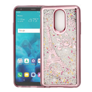 Electroplating Quicksand Glitter Transparent Case for LG Stylo 4 - Eiffel Tower Rose Gold