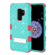 Military Grade Certified TUFF Diamond Hybrid Armor Case with Stand for Samsung Galaxy S9 Plus - Teal Green Electric Pink