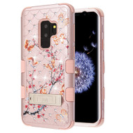 Military Grade TUFF Diamond Case with Stand for Samsung Galaxy S9 Plus - Butterfly Spring Flowers Rose Gold