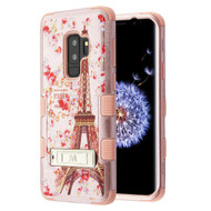 Military Grade Certified TUFF Image Hybrid Armor Case with Stand for Samsung Galaxy S9 Plus - Paris Full Bloom Rose Gold