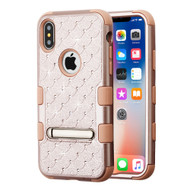 Military Grade Certified TUFF Diamond Hybrid Armor Case with Stand for iPhone XS / X - Rose Gold 403