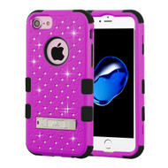 Military Grade Certified TUFF Diamond Hybrid Armor Case with Stand for iPhone 8 / 7 / 6S / 6 - Hot Pink