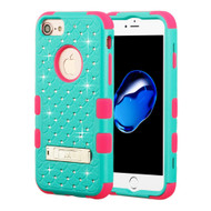 Military Grade Certified TUFF Diamond Hybrid Armor Case with Stand for iPhone 8 / 7 / 6S / 6 - Teal Green Electric Pink