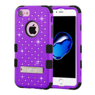 Military Grade Certified TUFF Diamond Hybrid Armor Case with Stand for iPhone 8 / 7 / 6S / 6 - Purple
