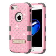 Military Grade Certified TUFF Diamond Hybrid Armor Case with Stand for iPhone 8 / 7 / 6S / 6 - Pearl Pink Iron Grey