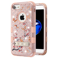 Military Grade TUFF Diamond Hybrid Case with Stand for iPhone 8 / 7 / 6S / 6 - Butterfly Spring Flowers Rose Gold
