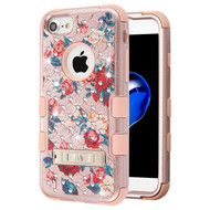 Military Grade Certified TUFF Diamond Hybrid Armor Case with Stand for iPhone 8 / 7 / 6S / 6 - Red and White Roses