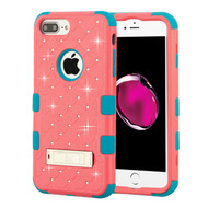 Military Grade Certified TUFF Diamond Hybrid Case with Stand for iPhone 8 Plus / 7 Plus / 6S Plus / 6 Plus - Pink Teal