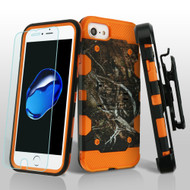 Military Grade Storm Tank Hybrid Case + Holster + Tempered Glass for iPhone 8 / 7 / 6S / 6 - Tree Camouflage Orange