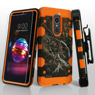 Military Grade Storm Tank Hybrid Case + Holster + Tempered Glass Screen Protector for LG K30 - Tree Camouflage Orange
