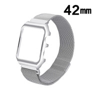 2-IN-1 Aluminum Bumper Case and Magnetic Stainless Steel Mesh Watch Band for Apple Watch 42mm - Silver
