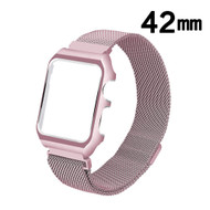 2-IN-1 Aluminum Bumper Case and Magnetic Stainless Steel Mesh Watch Band for Apple Watch 42mm - Rose Gold