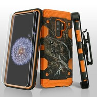 Military Grade Storm Tank Hybrid Case + Holster + Screen Protector for Samsung Galaxy S9 Plus - Tree Camouflage Orange