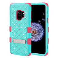 Military Grade Certified TUFF Diamond Hybrid Armor Case with Stand for Samsung Galaxy S9 - Teal Green Electric Pink