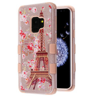 Military Grade Certified TUFF Image Hybrid Armor Case for Samsung Galaxy S9 - Paris Full Bloom Rose Gold