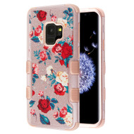 Military Grade Certified TUFF Image Hybrid Armor Case for Samsung Galaxy S9 - Red and White Roses Rose Gold