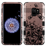 Military Grade Certified TUFF Image Hybrid Armor Case for Samsung Galaxy S9 - Lace Flowers Rose Gold