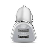 HyperGear High Power Dual USB 2.4A Car Charger - Silver