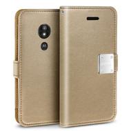 *Sale* Essential Leather Wallet Case for Motorola Moto E5 Plus - Gold