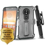 Heavy Duty Dual Layer Hybrid Armor Case + Holster + Tempered Glass for Motorola Moto E5 Play / E5 Cruise - Black