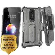 Heavy Duty Dual Layer Hybrid Armor Case with Holster and Tempered Glass Screen Protector for LG K30 - Black