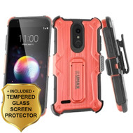 *Sale* Heavy Duty Dual Layer Hybrid Armor Case with Holster and Tempered Glass Screen Protector for LG K30 - Red