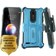 Heavy Duty Dual Layer Hybrid Armor Case with Holster and Tempered Glass Screen Protector for LG K30 - Blue