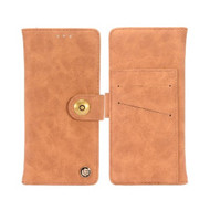 Faux Suede Leather Wallet with Detachable Magnetic Case for LG Stylo 4 - Brown