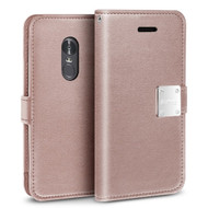 Essential Leather Wallet Case for LG Stylo 4 - Rose Gold
