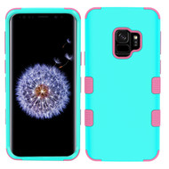 Military Grade Certified TUFF Hybrid Armor Case for Samsung Galaxy S9 - Teal Green Electric Pink 048