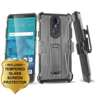 Heavy Duty Dual Layer Hybrid Armor Case with Holster and Tempered Glass Screen Protector for LG Stylo 4 - Black