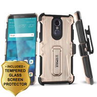 Heavy Duty Dual Layer Hybrid Armor Case with Holster and Tempered Glass Screen Protector for LG Stylo 4 - Rose Gold